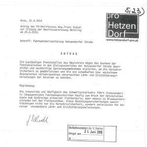 Pro Hetzendorf - Antrag Fahrbahnteilsanierung Hetzendorfer Straße - Sitzung Bezirksvertretung Meidling 24.06.2016