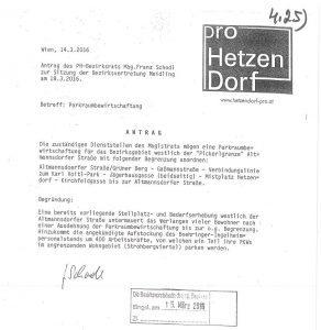 Pro Hetzendorf - Antrag Parkraumbewirtschaftung - Sitzung Bezirksvertretung Meidling 18.03.2016